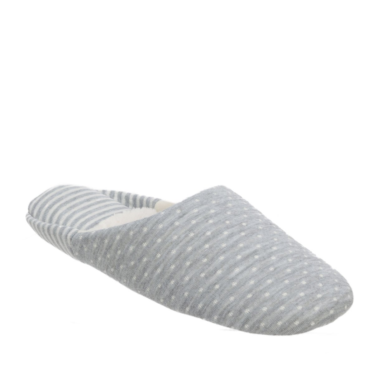 Dearfoams Womens MEMORYFOAM Gray Mixed Print Scuff Slipper - Medium (7-8)
