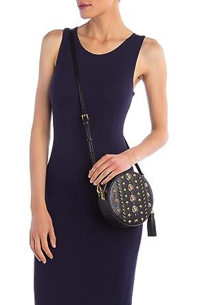 51f1f66d0b66 Amazon.com: Michael Michael Kors Womens Studded Black Leather Medium Round  Satchel Cross-Body Hand Bag (Black): Clothing