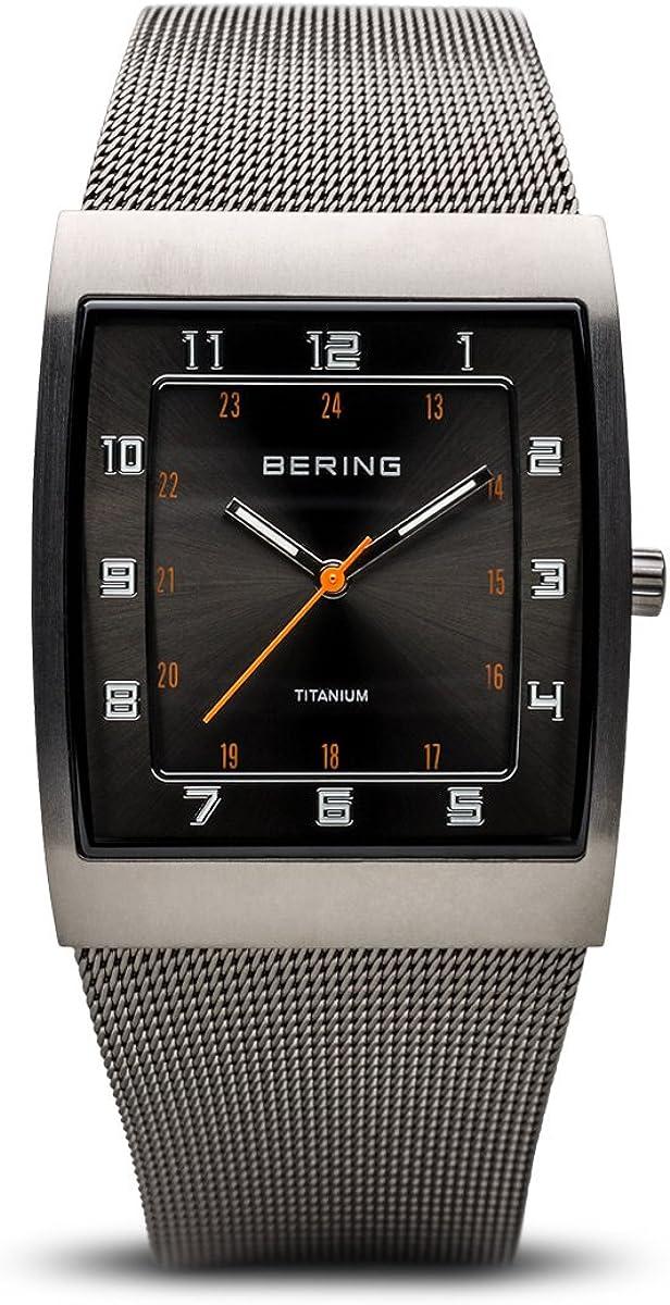 Bering Classic - Reloj analógico de mujer de cuarzo con correa de acero inoxidable gris - sumergible a 50 metros
