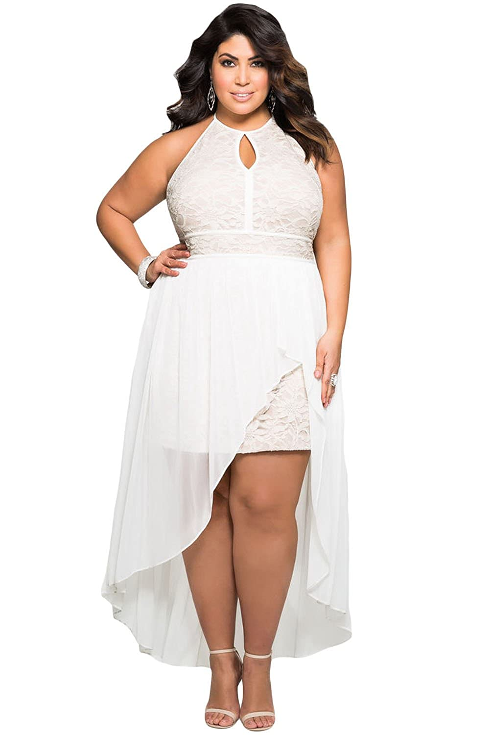 Womens New White Halterneck Stylish Lace Special Occasion Plus Size Club Party Dress