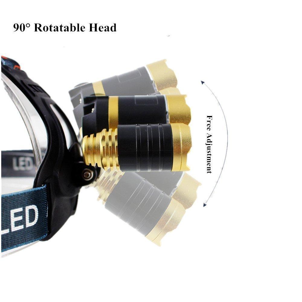 Multiply-X LED Stirnlampe Nachladbare und Wasserdichte Scheinwerfer mit 70 Watt 9000 Lumes , Der Sensor Zoom Also Eignet Sich Diese Taschenlampe Perfekt f/ür Camping Jagd Wandern Laufen