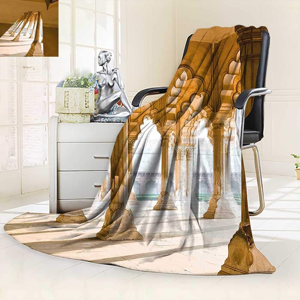 vanfan Silky Soft Plush Warm Blanket Autumn Winter Historical Theme Gallery Pillars at Agra Fort India Digital Image Light Coffee,Silky Soft,Anti-Static,2 Ply Thick Blanket. (62''x60'')