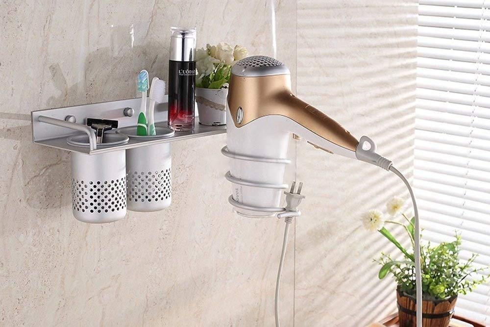 Hair Dryer Holder Rack,Aluminum Holder Wall Mounted Stand Hair Dryer Storage Comb Organizer for Bathroom Washroom Accessories with 2 Cups