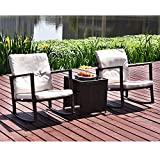 Elecwish Outdoor Patio Wicker Rocking Chair Extra Cushioned All Weather Smooth Gliding Water Resistant Glass Side Table 3 PCs Set Brown Rattan Beige Cushion