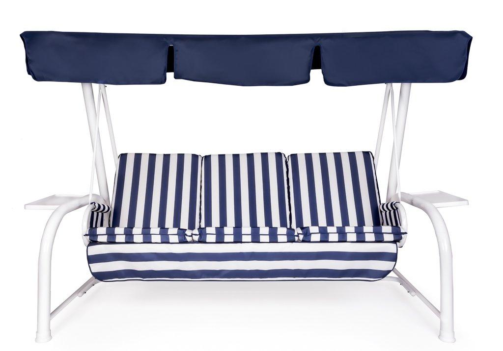 Set kissen + Dach Ersatz für Hollywoodschaukel 4-Sitzer Weiss Gestreift Blau Dach Blau