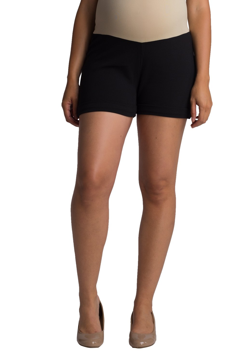 Ellie Flora Women's Over The Belly Super Soft Rayon Ponte Back Sweet Heart Shape Butt Lift Maternity Shorts