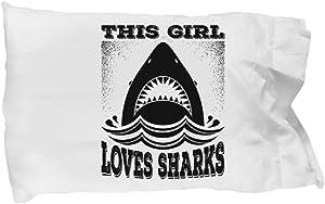 Funny Novelty Gift For Shark Lover This Girl Loves Sharks Best Animal Lover, Sharks, Shark Pillow Case