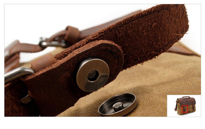TYWZF Handbag Men Vintage Waterproof Waxed Canvas Leather Laptop Briefcase Satchel Shoulder Messenger Bag