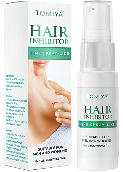 Tomiya Hair Inhibitor - Hair Stop Growth Spray - With 5 Wax Strips - Natural Ingredient to Inhibit and Reduce to Stop Hair Growth - Safe for Face, Arm, Leg, Armpit Use - Smooth Your Skin - 20 ML