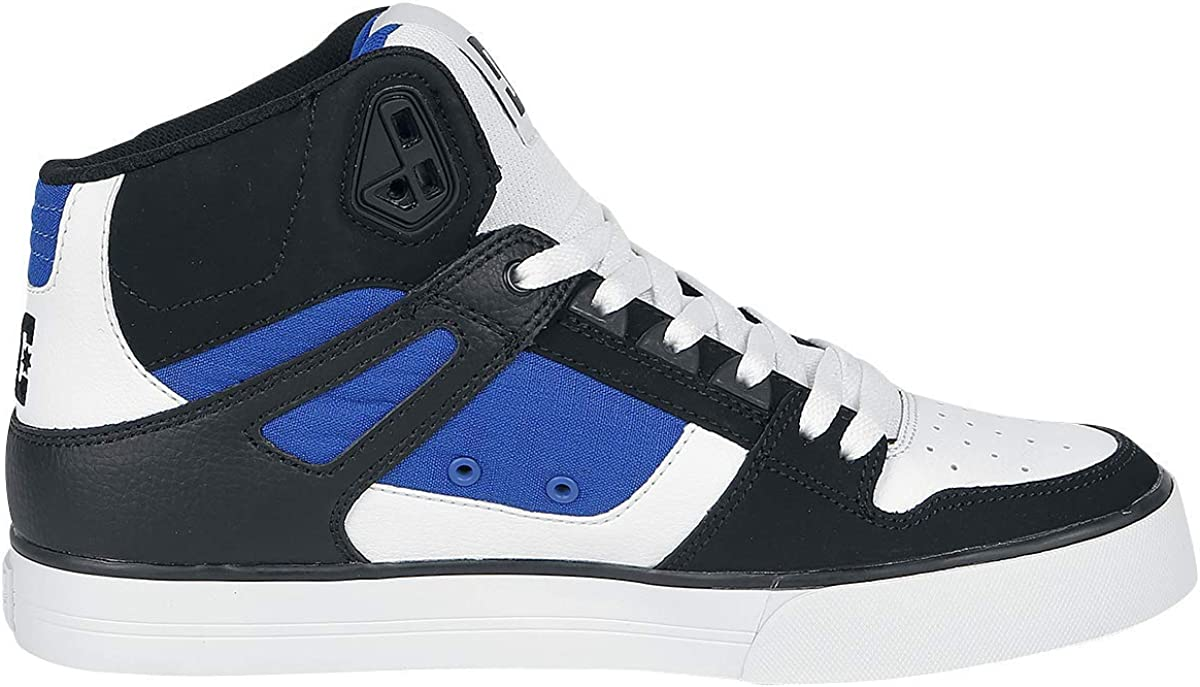 DC Shoes Pure High-Top WC, Chaussures de Skateboard Homme Blanc White Blue Black