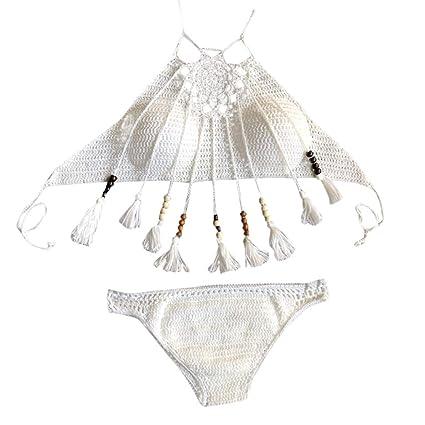 4ea962f4be2 Amazon.com: Women Bikini Set Crochet Tassel Two Piece Bathing Suit Boho Halter  Swimwear Set: Garden & Outdoor