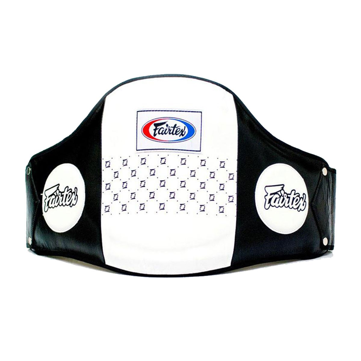 Fairtex Leather Belly Pad, Black/White, One Size Ringside Inc. BPAD3 BK/WH