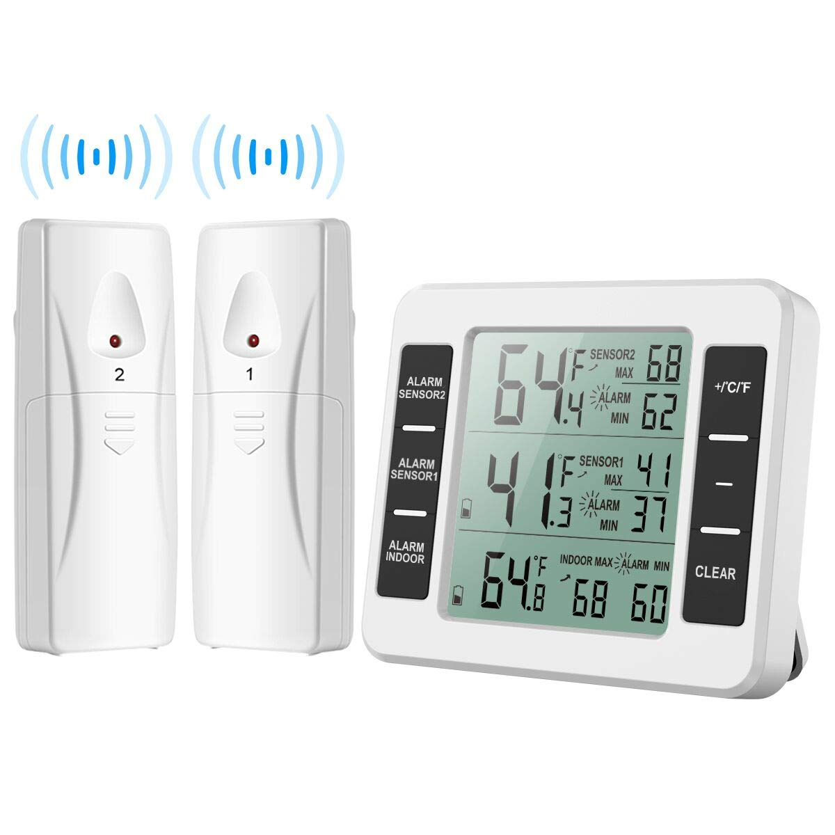 (New Version) AMIR Refrigerator Thermometer, Wireless Indoor Outdoor Thermometer, Sensor Temperature Monitor with Audible Alarm Temperature Gauge for Freezer Kitchen Home (Battery not Included) by AMIR