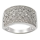 Sterling Silver 0.25ct White Diamond Floral Milgrain Ring.