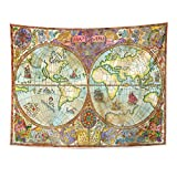TOMPOP Tapestry Vintage with World Atlas Map on Antique Pirate Adventures Treasure Hunt and Old Transportation Graphic Home Decor Wall Hanging for Living Room Bedroom Dorm 60x80 Inches