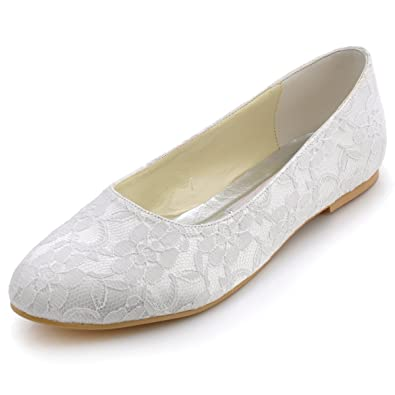 Elegantpark EP11106 White Womens Round Toe Flat Lace Wedding Bridal Shoes UK 2
