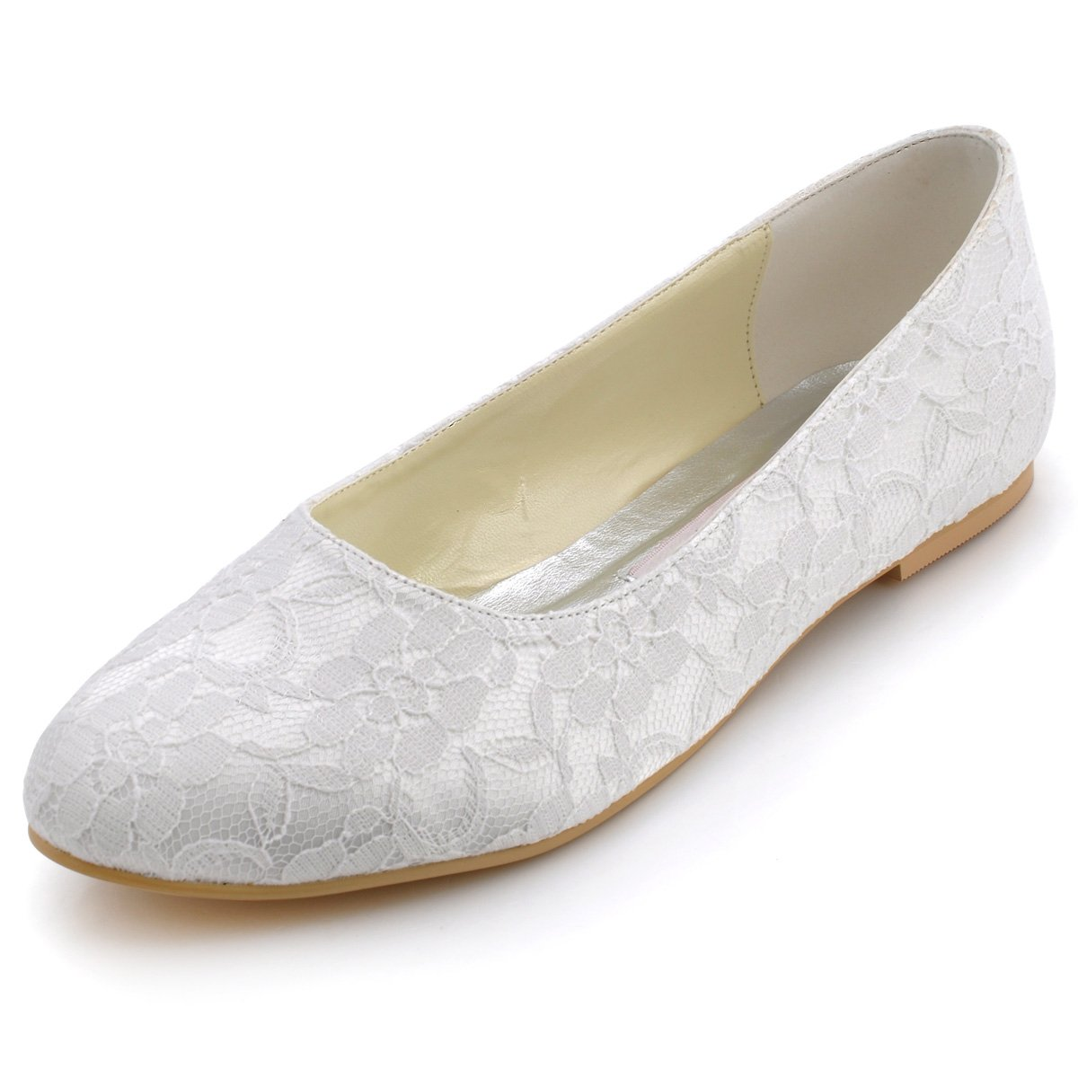ElegantPark EP11106 Women Comfort Flats Closed Toe Lace Wedding Bridal Shoes White US 10