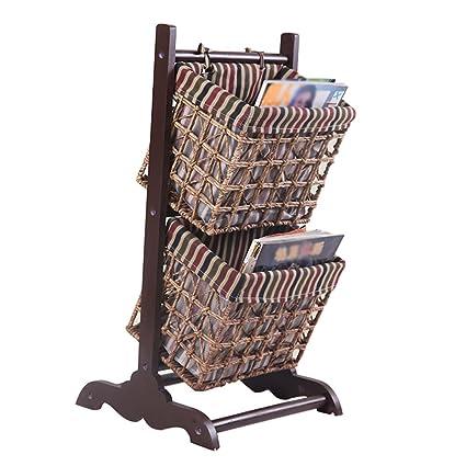 Emma Home SJ Storage Racks Solid Wood Rattan Weaving Combined Baskets Bookshelf Floor Type 2