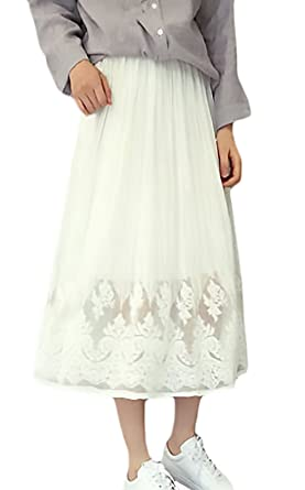 Battercake Falda Mujer Verano Fashion Bonita Color Sólido Cintura ...