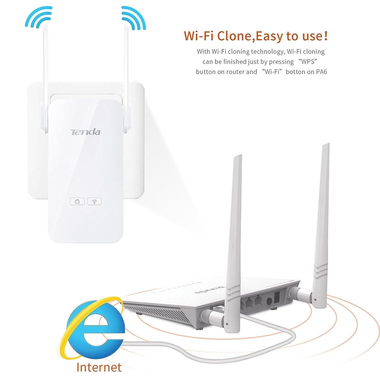Tenda PH5 AV1000 Kit Extensor de Red por Linea Gigabit Powerline (1000 Mbps + 300 Mbps WiFi, Clonado WiFi, 3 Puertos Gigabit, Plug&Play, IPTV, ...