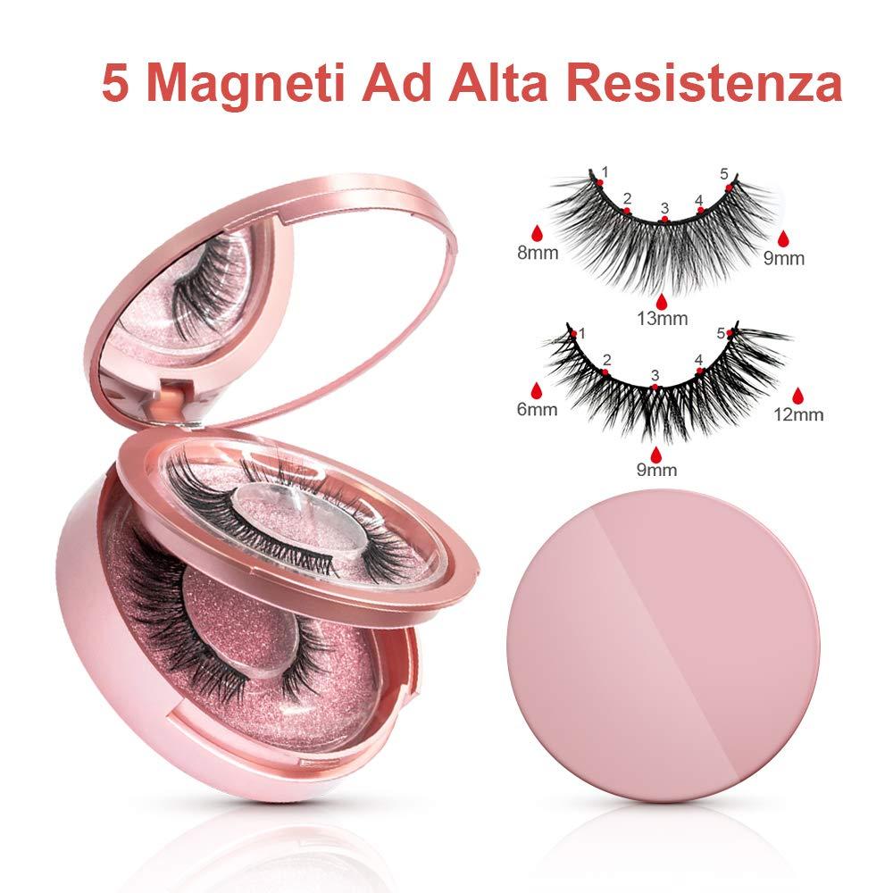 Ciglia Magnetiche, eroaddict Ciglia finte 3D naturali con 5 eyeliner magnetici Kit di pinzette esagerate impermeabili per ciglia finte, Nessuna colla necessaria riutilizzabile (2 paia)