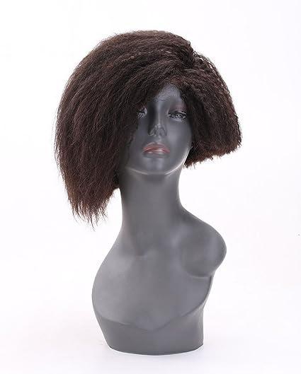 100% humano real pelo corto rizado peluca afro Kinky recto corto Bob peluca con pelo