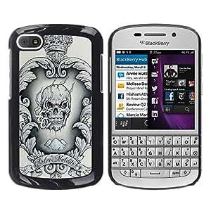 """For BlackBerry Q10 Case , Corona Negro Blanco Cráneo Drogas Humo"""" - Diseño Patrón Teléfono Caso Cubierta Case Bumper Duro Protección Case Cover Funda"""
