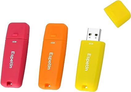 Espeon Pack de 3 Unidades, 32 GB Memoria USB 2.0 Flash Drive, Carcasa de Goma, colores llamativos - Naranja, Amarillo, Rojo: Amazon.es: Informática