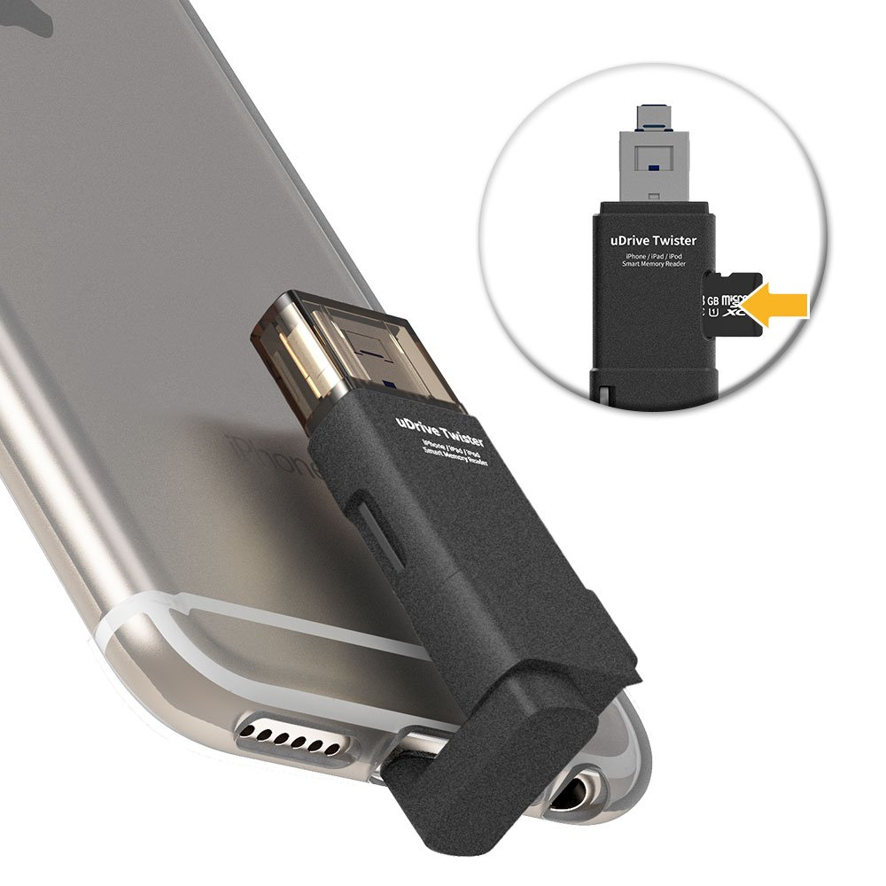 3-in-1 iPhone Memory Card Reader,TEKQ Twister USB OTG Adapter, Lightning Connector Compatible Apple iPhone iPad iPod External Storage Micro SD Card Reader (SD Card not Included) (Black) [Apple MFi]