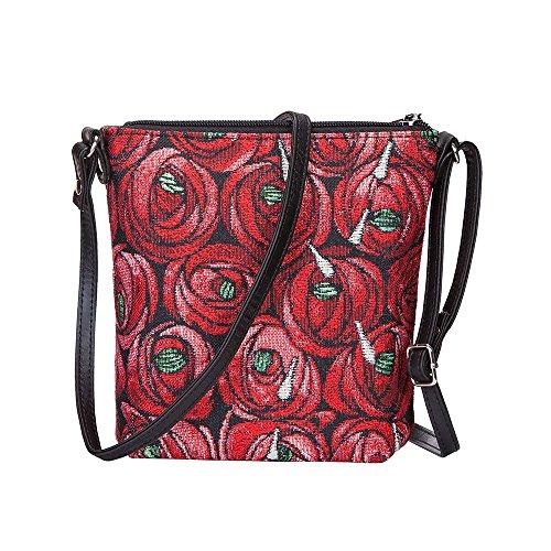 Signare Tapestry Women Lightweight Sling Cross Body Satchel Bag Mackintosh Rose and Teardrop (SLING-RMTD)