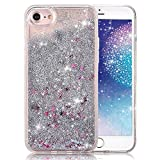 Apple iPhone SE Waterfall Quicksand Glitter Cascade Star Naked Tough 3D Bling Movable Transparent Clear hardshell Tank Dynamic Snow Globe Liquid Case [Hard + Gel Cover] By Tech Express (Silver)