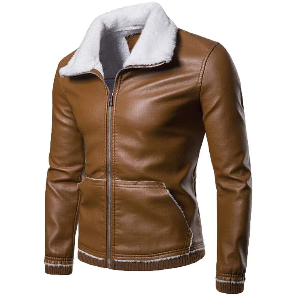 2018 Big Promotion,WUAI Clearance Mens Lightweight Jacket Winter Warm Ourdoors Solid Turn-down Collar Lamb Fur Coat (Yellow,US Size L = Tag XL)