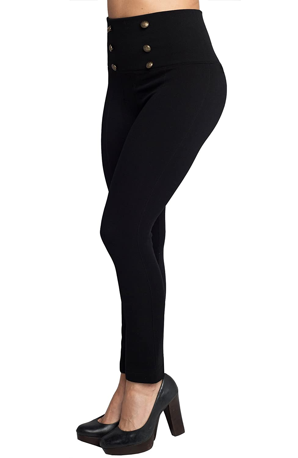 Hollywood Pants Fleece Lined Leggings Women, High Waist Leggings, Button Fits Size 6-10 (L)