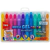 Giz Retratil Tris Mega Gel Color Metalico 12 Cores Cjto