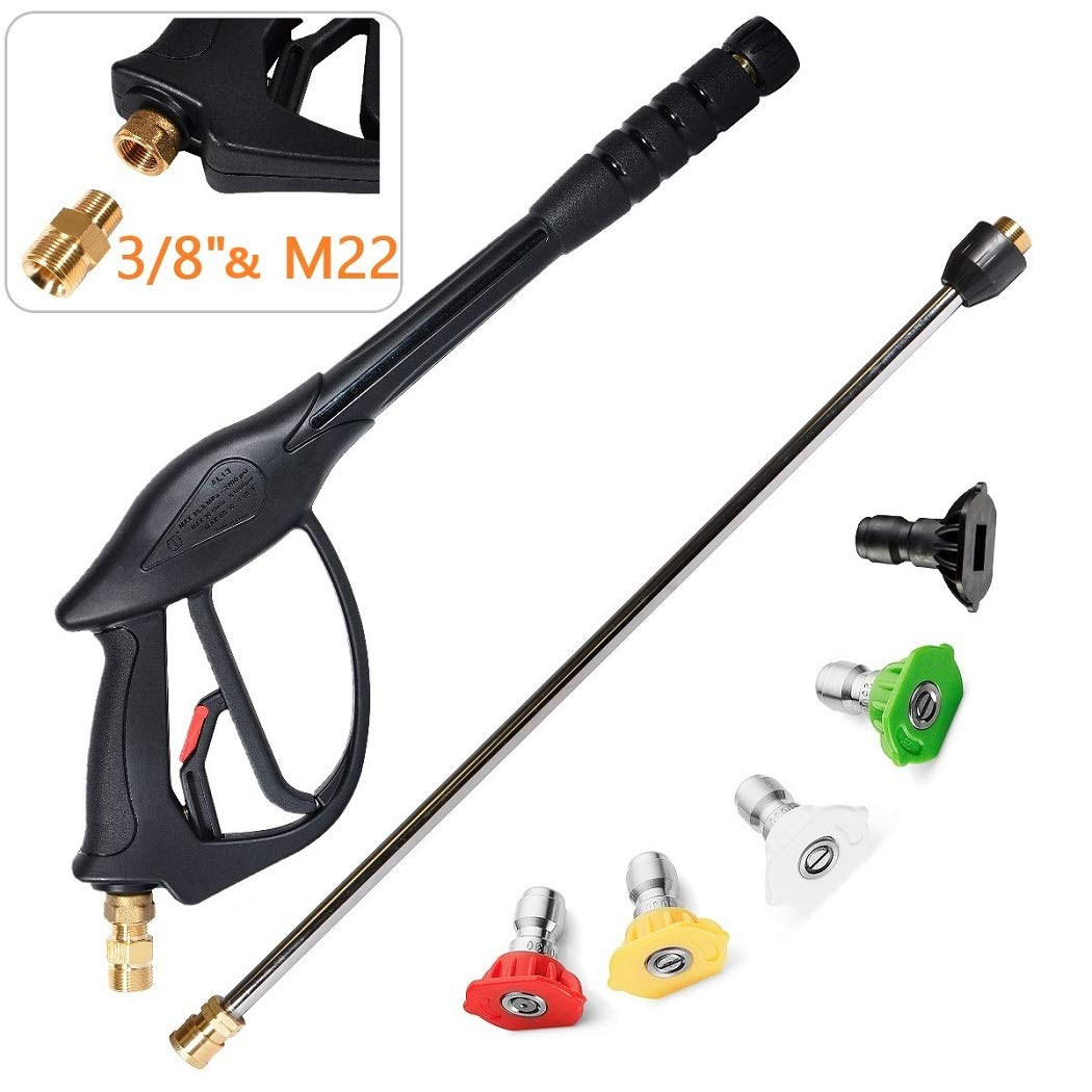 YAMATIC High Pressure Power Washer Spray Gun with 22'' Replacement Wand, 5 Spray Nozzle Tips for Karcher, Honda Excell Troybilt, Generac, Simpson, B&S Pressure Washers(7-in-1)