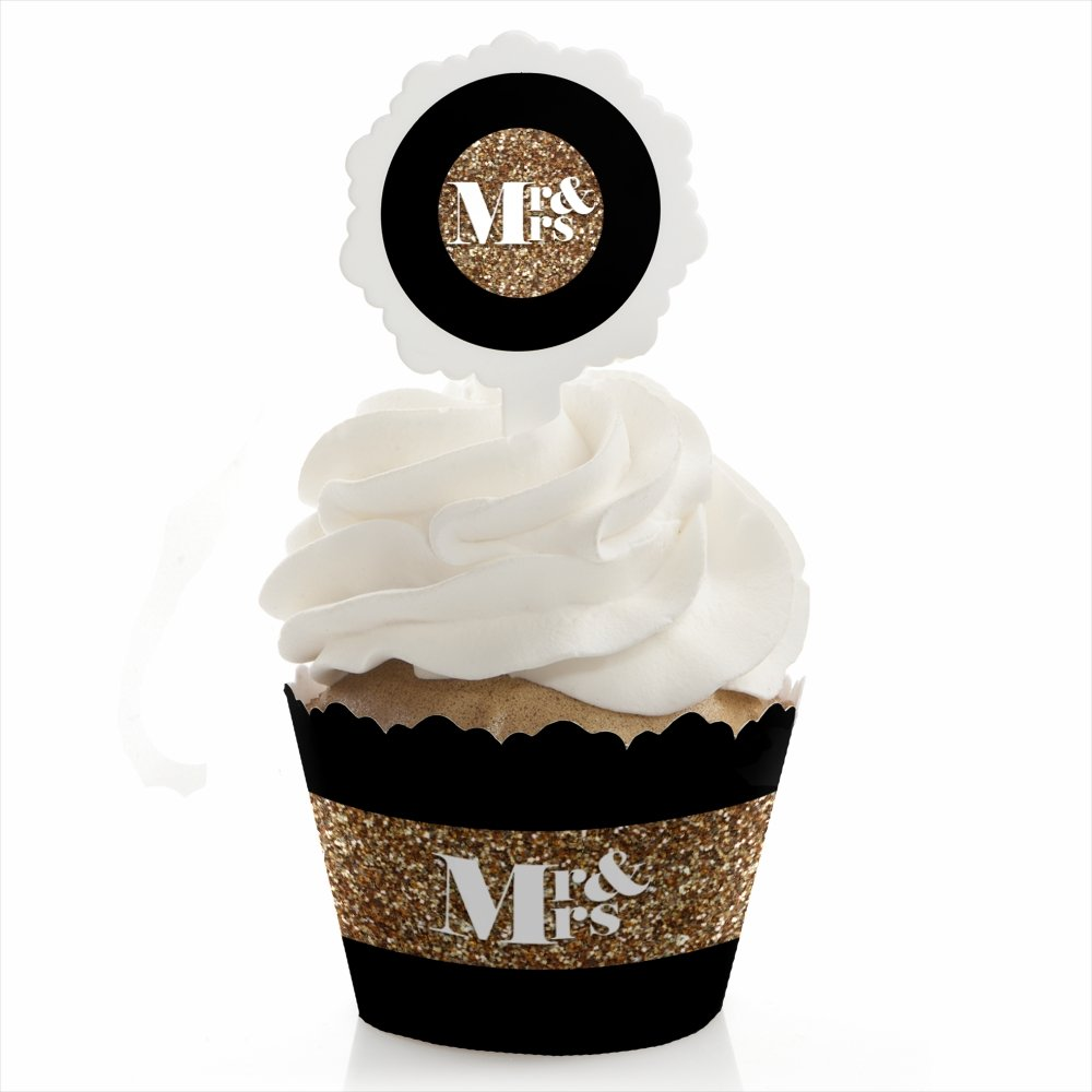 Big Dot of Happiness Mr. & Mrs. - Gold - Wedding Cupcake Wrapper and Pick - Cupcake Decorating Kit - Set of 24