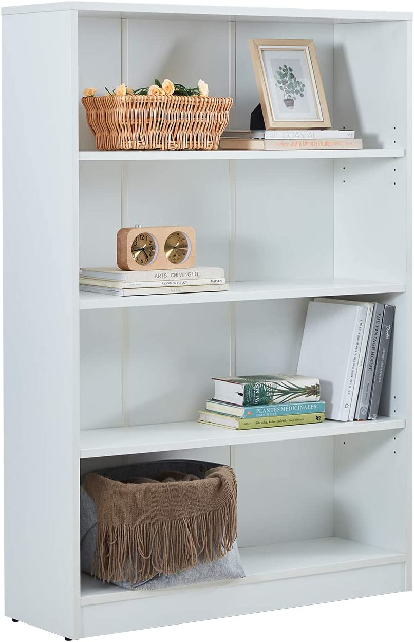 VICLLAX Wood 4-Shelf Bookcase Layer Adjustable Mordern Bookshelf for Home and Office, White