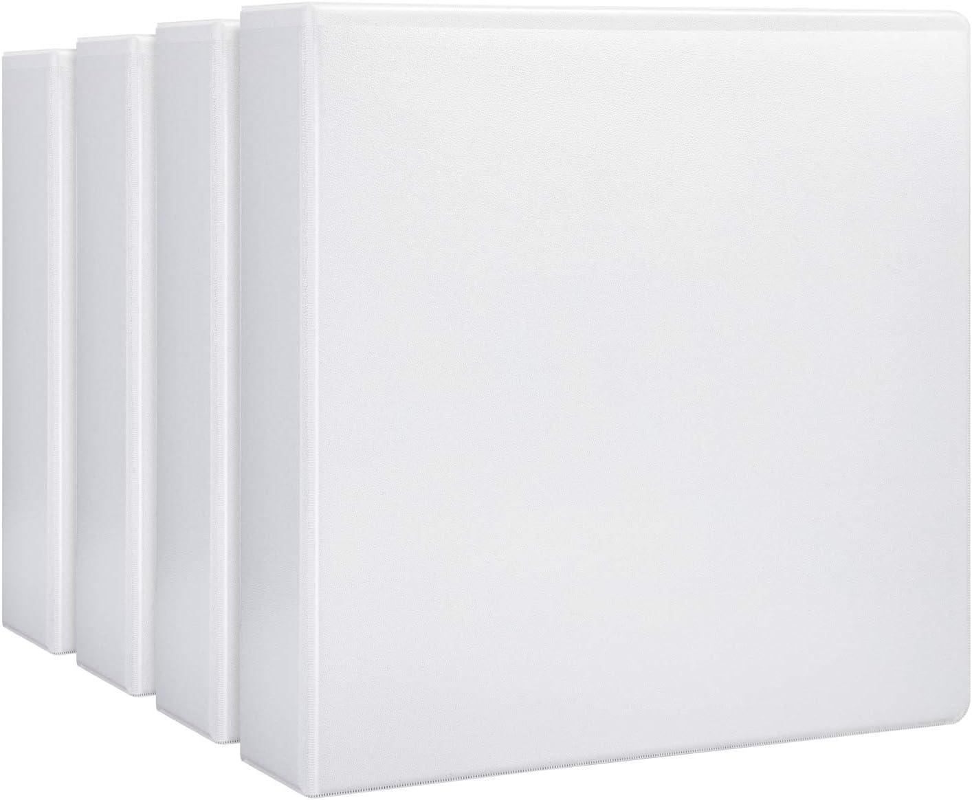 "AmazonBasics 2"" Heavy-Duty View 3 Ring Binder, White, 4/Pack"