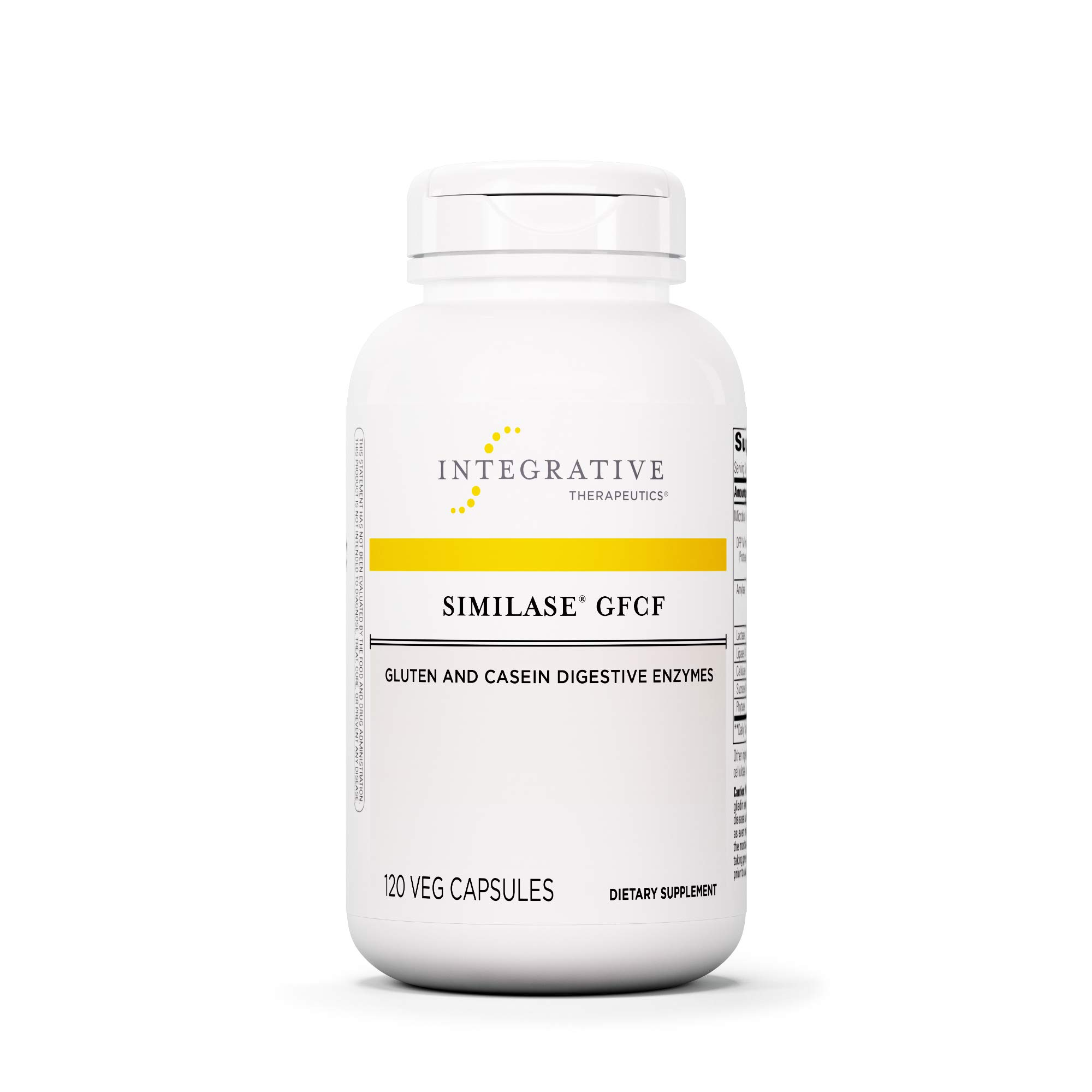 Integrative Therapeutics - Similase GFCF - Gluten Digestive Enzyme - Supports Breakdown of Gluten and/or Casein/Dairy* - Reduces Occasional Gas and Bloating* - Vegan and Gluten Free - 120 Capsules by Integrative Therapeutics