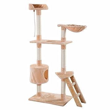 60 u0026quot  cat tree play house tower condo scratcher furniture kitten pet house hammock beige amazon     60   cat tree play house tower condo scratcher      rh   amazon