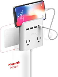 Multi Plug Outlet Extender & Splitter: iHome PowerReach 6ft Extension Cord with 2 Outlets & 4 USB Ports for Multiple Smartphone Charging - Desktop/Magnetic Wall Mounting Charger