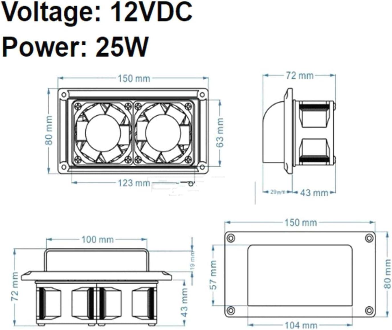 RV Camper Caravan Modified Accessories Side Vent Exhaust Fan 12V DC 25W White