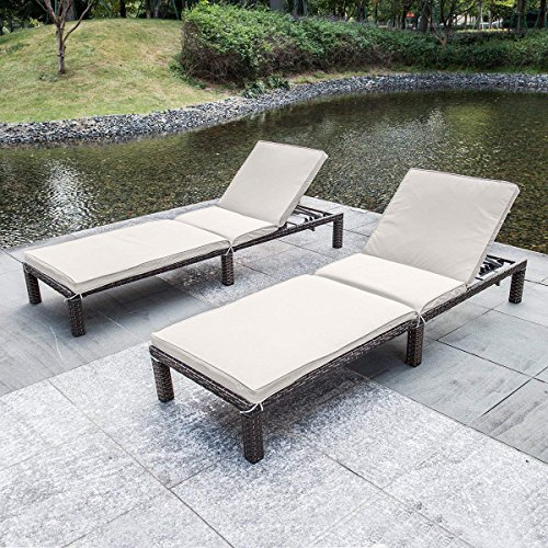MAGIC UNION Patio Adjustable Wicker Chaise Lounge with Cushions Sets of 2 by MAGIC UNION (Image #2)