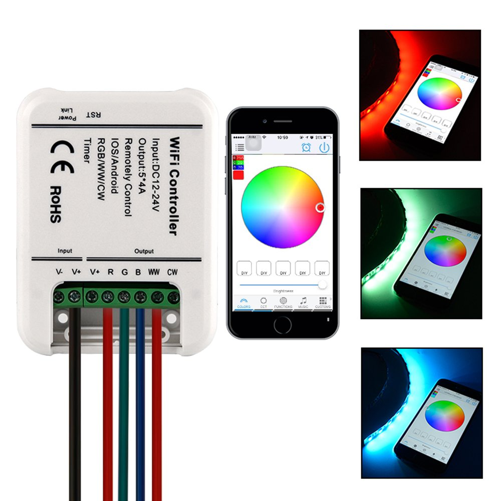 Sunix 12V Flexible RGB LED Light Strip Controller, Smart WiFi 5 Channels Control (RGB + Warm White + Cool White) DC 12-24V - iOS or Android Smartphones control – ideal for 5050 / 3528