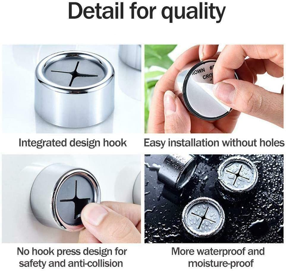 KuanDar clo 5 Pcs Adhesive Round Towel Holder,Towel Holder Kitchen Dish,Round Wall Mount Hook,Push The Towel Rack Grip Hook,for Bathroom No Drilling Required A