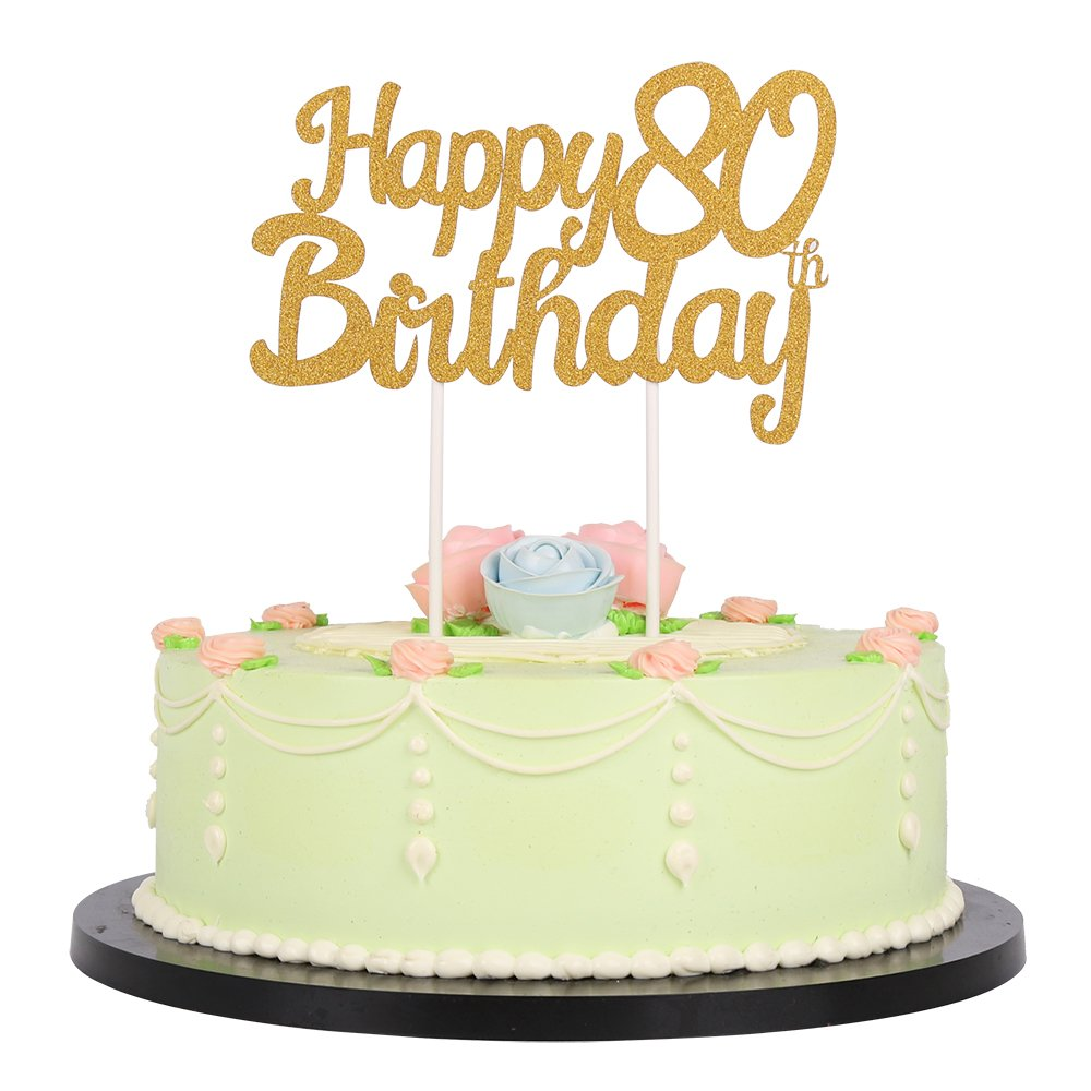Gold Glitter Happy 80Th Birthday Cake Topper Party