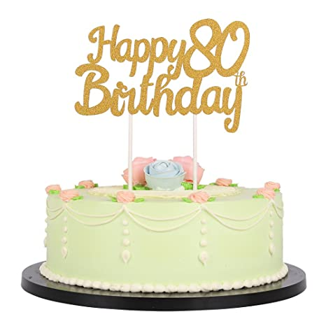 LXZS-BH Gold Glitter Happy Birthday 80th Cake Topper,Party Cake Decoration  Supplies
