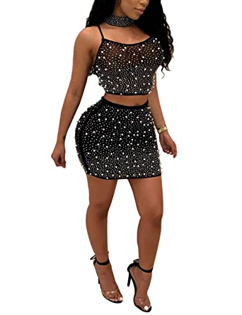39d55173f5750b Sequin Rhinestone 2 Piece Club Set Backless Crop Top + Bodycon Skirt Outfit  for Ladies Black