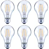 Asencia AN-03672 60 Watt Equivalent A19 Clear All Glass Vintage Filament Dimmable LED Light Bulb, Daylight, 6-Pack, Clear Gla