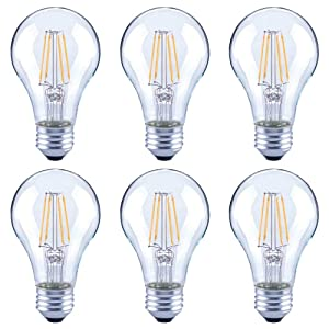 Asencia AN-03672 60 Watt Equivalent A19 Clear All Glass Vintage Filament Dimmable LED Light Bulb, Daylight, 6-Pack, (5000K)